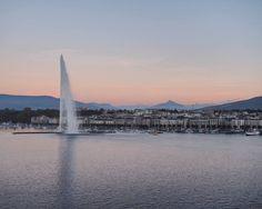 View from the Ritz Carlton Hotel Geneva. Lake Geneva, Jet d'Eau and Mont Blanc