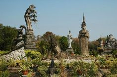 Sala Keoku is a park featuring giant fantastic concrete sculptures inspired by Buddhism and Hinduism located near Nong Khai, Thailand in immediate proximity of the Thai-Lao border and the Mekong river.
