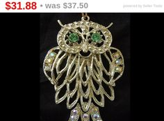SALE Owl Statement Necklace Rhinestone Pendant Vintage 70s Owl Pendant, Boho Jewelry, Rhinestone Owl Figural Jewelry, Sparkly Disco Era P... - pinned by pin4etsy.com