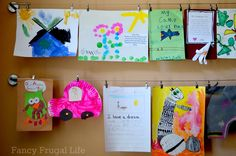 Displaying kids' art--wire with clips from Ikea. | Our New Playroom Tour (Organizing the Kid Clutter) |