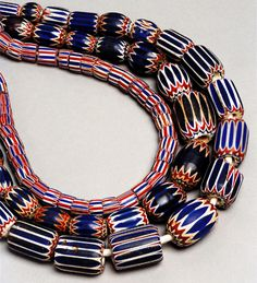 Chevron beads also called star or rosetta,these were sophisticated beads made from an early date,1500,by the Venetians.The Dutch also manufactured them in 17th century.  World Jewelry Museum.