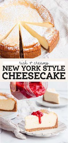 New York Baked Cheesecake, Plain Cheesecake, New York Style Cheesecake, Classic Cheesecake, Raspberry Cheesecake, Cheescake Recipe, Easy Cheesecake Recipes, Best Baked Cheesecake Recipe, Fun Baking Recipes