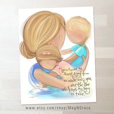 Blonde Mother Son and Daughter Wall Art Family door MegNGrace