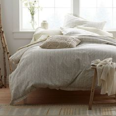 Get this designer rustic glam bedroom with neutral perfection and layers and layers of coziness for an absolute steal at CopyCatChic! Modern Duvet Covers, Bed Duvet Covers, Duvet Cover Sets, Bedding Sets Online, Luxury Bedding Sets, Hotel Collection Bedding, Bed Linen Online, Rustic Bedding, Duvet Bedding