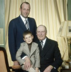 King Olav, Crown Prince Harald and Prince Haakon and of Norway. (Photo by Lichfield/Getty Images)