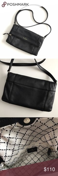 """kate spade julian leather crossbody Like new! Black leather """"Julien"""" cross body from kate spade. No major/noticeable scratches. Only sign of wear is on logo on front of bag as pictured. Corners in perfect condition.  No marks on interior. All zippers intact. Beautiful bag!  Price is firm unless bundled. No trades. kate spade Bags Crossbody Bags"""