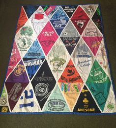 My Tshirt Quilt with triangle pattern - using favorite tshirts from elementary to high school #memories