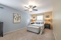 This gorgeous master bedroom is in the perfect home for a young family in Chesterfield, Missouri. Home Staging Companies, Young Family, Master Bedroom, Gallery Wall, Home Decor, Master Suite, Decoration Home, Room Decor