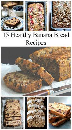 15 Healthy Banana Bread Recipes featuring gluten free, paleo and vegan options. All of these look SOOOOO good!