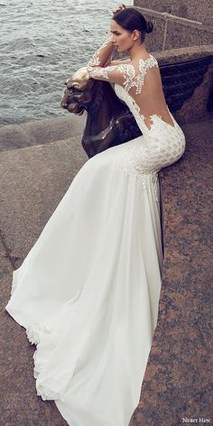 nurit hen 2016 bridal illusion long sleeves split sweetheart neckline mermaid embellished bodice sexy glam wedding dress (05) bv illusion back