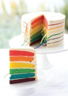 Rainbow coloured cake
