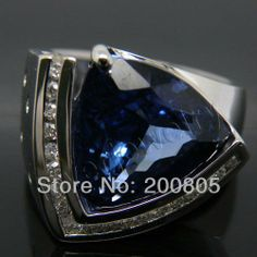 Jewelry Sets Vintage Solid 18Kt White Gold Diamond Tanzanite Engagement Ring SR00270A