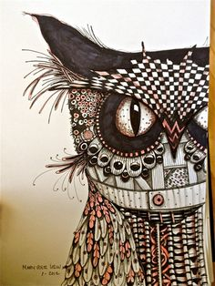 ... owl zentangle. This amazing artwork is by Mary Vogel Lozinak.