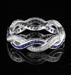 Vintage Infinity Style Gold Diamond Sapphire Eternity Band Ring makes a great promise ring! Sapphire Eternity Band, Eternity Bands, Bijoux Art Nouveau, Mother Rings, Anniversary Jewelry, Wedding Anniversary, To Infinity And Beyond, Diamond Are A Girls Best Friend, White Gold Diamonds
