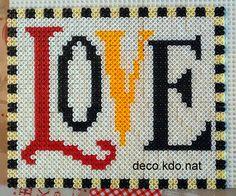 LOVE frame hama perler beads by deco. Motifs Perler, Perler Patterns, Fuse Beads, Perler Beads, 3d Perler Bead, Love Frames, Minecraft Pixel Art, Valentines Design, Iron Beads