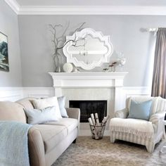 Tranquil living room. Cream and blue - cozy.
