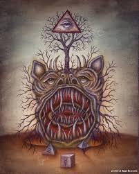 daniel martin diaz - Apocalyptic Beast, Oil on Wood, Sold Colonial Art, Beast, School Painting, Macabre Art, Occult Art, Mystique, Outsider Art, Surreal Art, Public Art