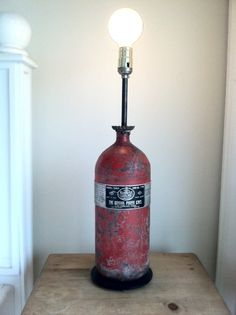 old fire extinguisher made into a lamp