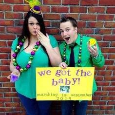 mardi gras baby announcement! Im so in love with this!! and so happy for my friends who are in this photo! they are gonna be awesome parents!!!!!!!!!!
