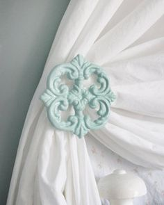 Curtain Tie backs, Curtain Holdback, Mint Green, Set of 2, Cast Iron, French, Cottage, Romantic, Shabby Chic