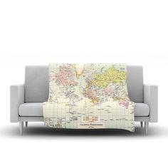 "Catherine Holcombe ""Travel"" World Map Fleece Throw Blanket"