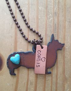 Rustic Rusty Rusted Recycled Metal Love Welsh Corgi Corgis Heart Necklace on Etsy, $17.75