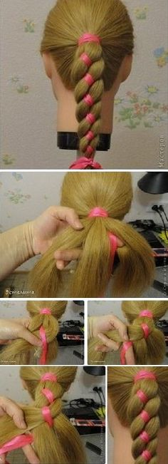 Four Strand Ribbon Braid Headband Hairstyle