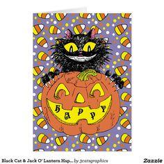 Black Cat & Jack O' Lantern Happy Halloween Purple Card