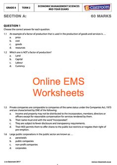 Education worksheets for Grade R - 12 - E-Classroom Social Science, Life Science, Science And Technology, Science Worksheets, School Worksheets, Factors Of Production, Map Activities, Classroom Rules, Goods And Services