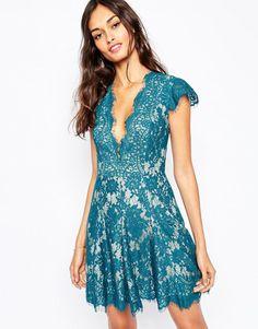 The Jetset Diaries πετρόλ μινι δαντελένιο φορεμα