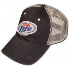 Here is a very retro style hat! This brown hat has a dirty white mesh back and adjustable strap on the back. The brim of the hat is ripped and torn for style and the front of the hat has a tattered patch with the Miller Lite logo.