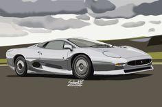 Jaguar - Gearbox Artworks - Draw to Drive Jaguar Xj220, Sketch Design, Art Drawings Sketches, Vehicles, Artworks, Cars, Car, Art Pieces, Vehicle
