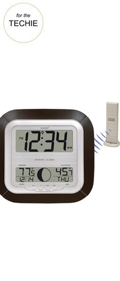 Gifts for the Techie |La Crosse Technology® WS-8418U-IT Digital Atomic Wall Clock with Thermometer | Very Merry Gift Guide