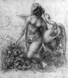 Leonardo da Vinci Leda and the Swan, , Devonshire Collection, Chatsworth. Read more about the symbolism and interpretation of Leda and the Swan by Leonardo da Vinci. Michelangelo, Renaissance Kunst, High Renaissance, Art Ninja, Madona, Chiaroscuro, Old Master, Art Archive, Drawing Sketches