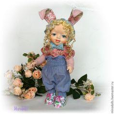 Купить Зайка тедди-долл. Милая зайка. Интерьерная коллекционная кукла игрушка - розовый, голубой