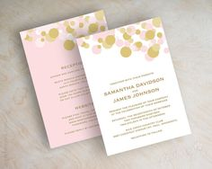 Soft pink and gold polka dot wedding invitation, gold wedding invitations, contemporary wedding invitations, modern, polka dots, pink wedding invites, Kendall v2. By appleberryink, $1.00