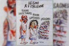 Charlie Hebdo shockeert opnieuw met cartoon over slachtoffers aardbeving Italië
