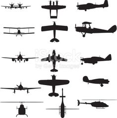 A collection of silhouettes containing various airplanes and helicopters
