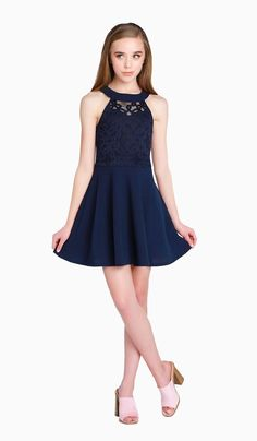 THE AVA DRESS (TWEEN )Ink stretch crepe georgette fit and flare dress with stretch crochet lace overlay bodice Middle School Dance Dresses, School Formal Dresses, 8th Grade Dance Dresses, Cute Dresses For Teens, Cute Little Girl Dresses, Winter Formal Dresses, Formal Dresses For Teens, Pretty Dresses, 8th Grade Graduation Dresses
