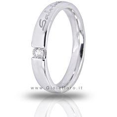 Salvini wedding ring, 18 kt white gold with diamond