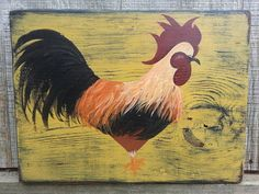 Handpainted Primitive Rooster