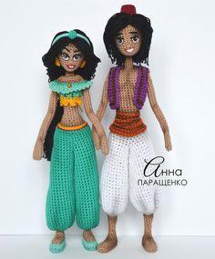 Fair of Masters - handmade. Buy Princess Jasmine and Aladdin. Yarn Dolls, Knitted Dolls, Crochet Dolls, Crochet Cross, Cute Crochet, Knit Crochet, Amigurumi Toys, Amigurumi Patterns, Crochet Patterns
