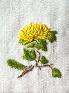 . yellow flower embroidery aa