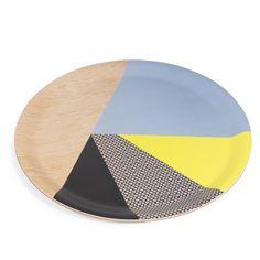 Tablett VINTAGE aus Holz, D 33 cm