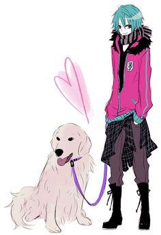Hatsune Mikuo with dog vocaloid ibuki mangaka