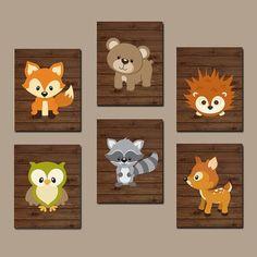 WOODLAND Nursery Wall Art, Art mural bois, forêt ours animaux Cerf écureuil hibou raton laveur FOX garçon chambre toile ou impressions lot de 6