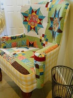 LOVE this colorful quilted wingback chair!