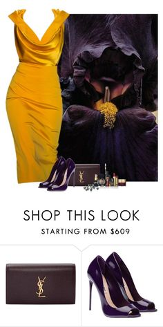 """""""Black Iris"""" by amy-jean ❤ liked on Polyvore featuring Cushnie Et Ochs, Yves Saint Laurent, Stila, Pupa and Guide London"""