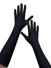 Long Black Stretch Satin Evening Gloves