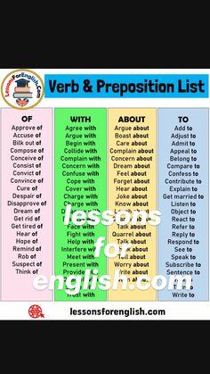 English Prepositions, English Sentences, English Phrases, Learn English Words, English Learning Spoken, Learning English For Kids, English Lessons For Kids, Essay Writing Skills, English Writing Skills